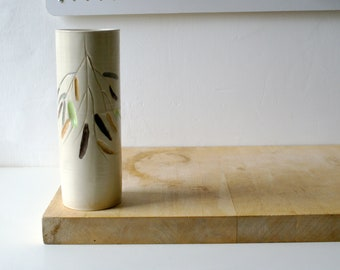 Weeping willow design tall ceramic vase - glazed in simply clay