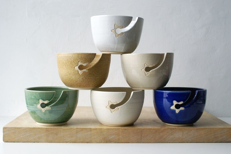 Choose your colour  Stoneware pottery yarn bowl with little image 0