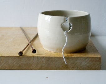 SECONDS SALE - Love heart yarn bowl glazed in simply clay