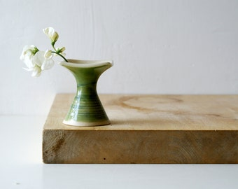 Bottle flower bud vase - glazed in green and simply clay