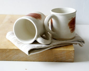 Painter's mugs - set of two vanilla and red straight sided mugs