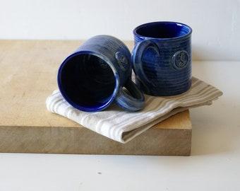 SECONDS SALE - Set of two ocean blue funnel shaped salamander mugs