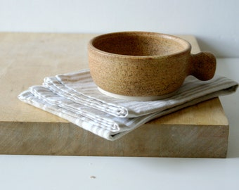 Stoneware shaving bowl glazed in natural brown - hand thrown british pottery