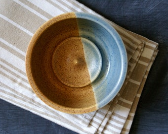 Stoneware shaving bowl glazed in brown and blue - hand thrown british pottery