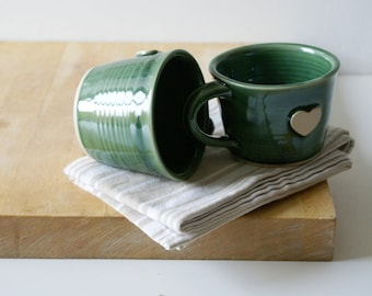 Set of two forest green heart mugs - hand thrown stoneware pottery