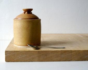 Lidded kitchen jar - handmade stoneware canister glazed in natural brown