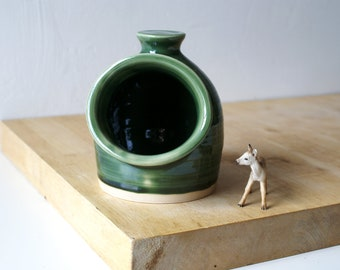 Seconds sale - Pottery salt pig for your kitchen in forest green