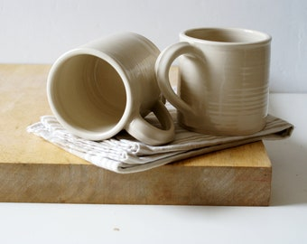 Tall coffee mugs - hand thrown stoneware pottery in simply clay