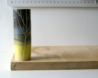 Tall ceramic vase with winter tree design - glazed in simply clay