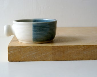 Stoneware shaving bowl glazed in ice blue and cream - hand thrown british pottery