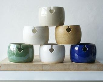 Choose your colour - Love heart yarn bowl, hand thrown stoneware knitting bowl