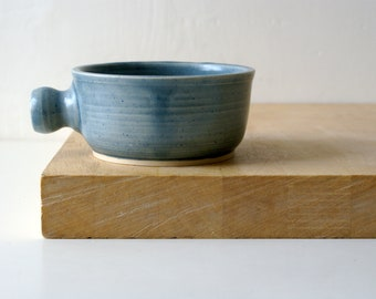 Stoneware shaving bowl glazed in ice blue - hand thrown british pottery