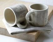Two grey kitten mugs - kawaii stoneware pottery glazed in simply clay