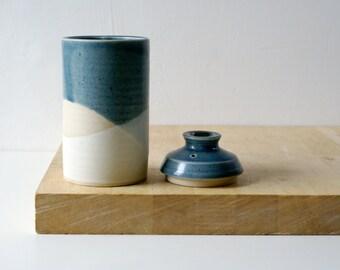 Seconds sale - Narrow lidded jar glazed in vanilla cream and ice blue