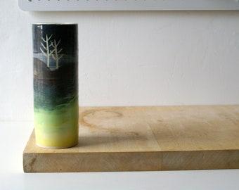 Slight second - Tall handmade winter landscape vase