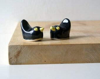 Two blackbird light pulls - glazed in black and yellow