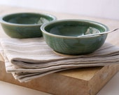 Set of two snack bowls in forest green - hand thrown tapas style dishes