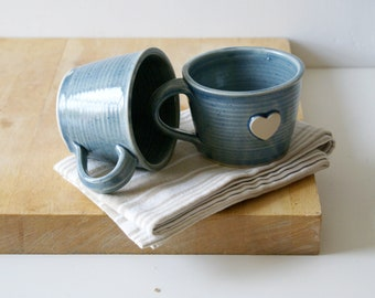 Slight seconds - Set of two hand thrown ice blue heart mugs
