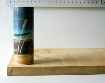 Wheat design tall ceramic vase - glazed in simply clay