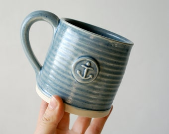 Set of two ice blue mugs - with anchor design