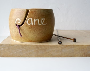 Choose your colour - Your name on a hand thrown pottery yarn bowl glazed in your choice of colour