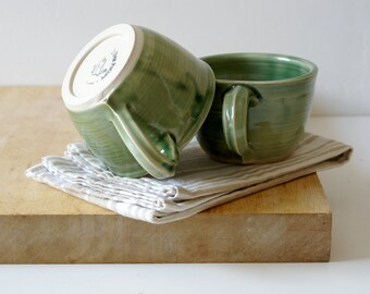 Seconds sale - Pottery cappuccino cups in forest green