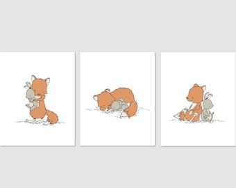 Woodland Nursery Art -- Fox and Bunny Friends -- Set of 3 Prints