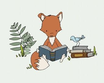 Woodland Nursery Art -- Get Lost in a Book -- Fox Reads A Book -- Fox Art -- Woodland Animal Art --  Children Art -- Kids Wall Art