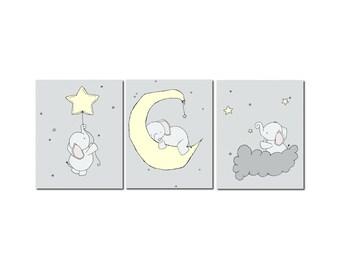 Elephant Nursery Art Prints -- Pale Yellow and Gray Nursery Decor -- Set Of 3 Prints -- Elephant Moon and Stars Art -- Kids Wall Art