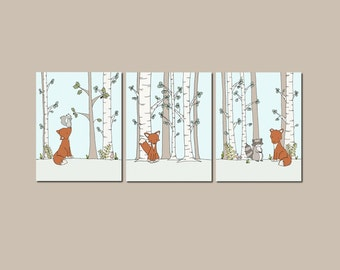 Woodland Nursery Art -- Fox and Friends in the Forest -- Set of 3 Prints -- Fox Raccoon Squirrel Art -- Children Art -- Kids Wall Art