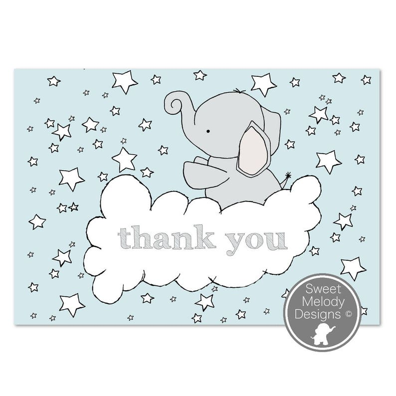 graphic relating to Printable Baby Shower Thank You Cards referred to as Printable Child Shower Thank Oneself Playing cards - Immediate Obtain - PDF Blank Playing cards - Elephants and Celebrities - Blue Grey - Child Boy