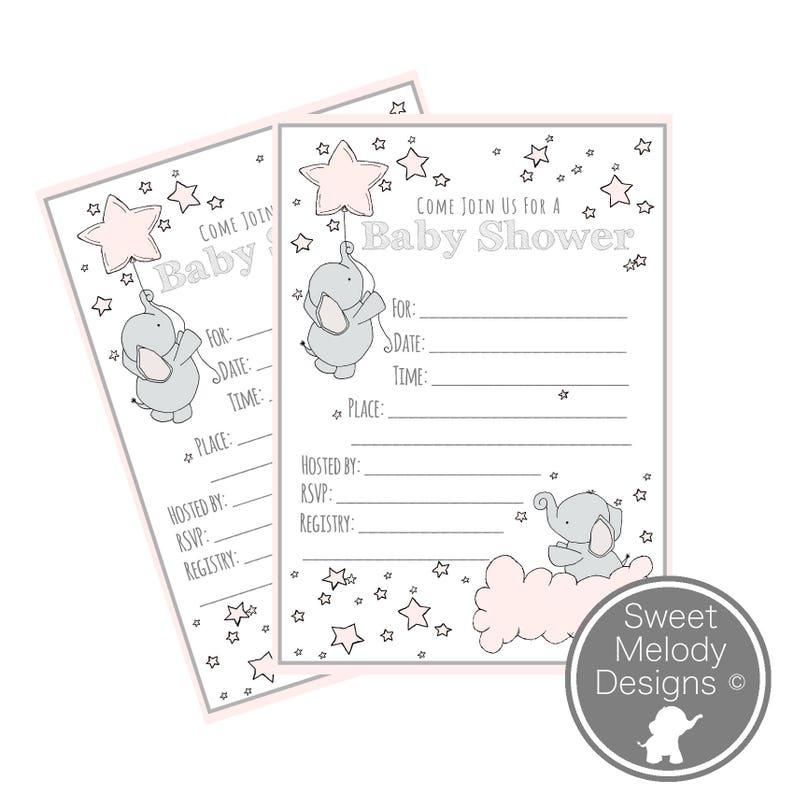 image regarding Printable Baby Shower Invitation named Printable Kid Shower Invites - Prompt Down load - PDF Blank Invitations - Elephants and Famous people - Purple Grey - Child Lady Shower Invitations