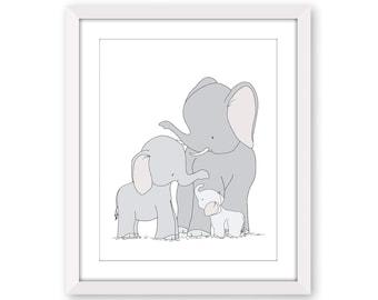 Elephant Nursery Decor - Elephant Family Art - Safari Nursery Decor - Elephant Baby Room - Safari Animal Prints