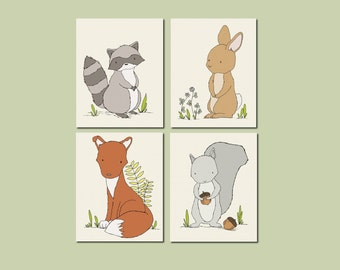 Woodland Nursery Art -- Woodland Animal Art -- Set of 4 Prints -- Woodland Nursery Decor -- Fox Bunny Raccoon Squirrel -- Kids Wall Art