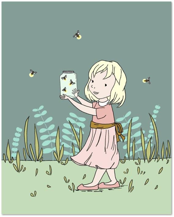 Girl Nursery Art Catching Fireflies Childrens Art Etsy