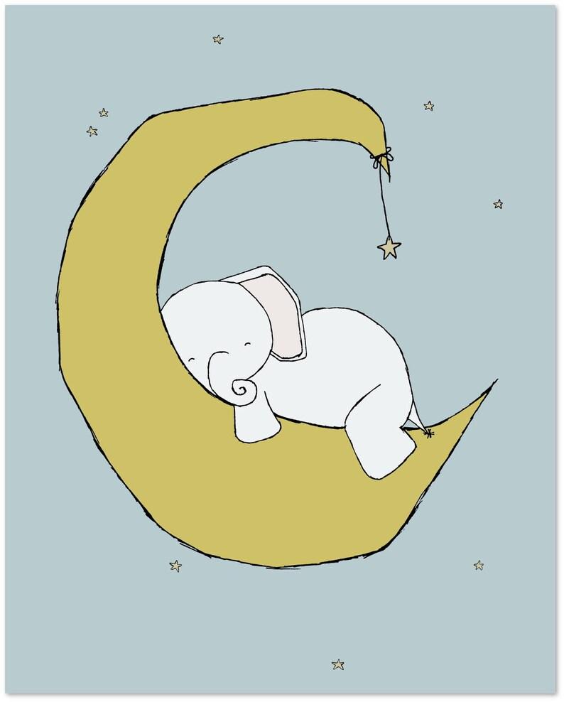 Nursery Art -- Baby Elephant Moon and Stars Dream -- Nursery Decor --  Children Art Print -- Kids Wall Art