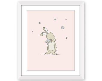 Bunny Nursery Art -- Bunny Holds Star -- Pink and Gray -- Catch A Falling Star -- Woodland Nursery Art -- Girl Nursery Art