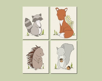 Woodland Nursery Art - Woodland Animal Art - Set of 4 Prints -- Fox Porcupine Raccoon Squirrel -- Kids Wall Art