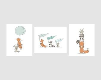 Woodland Nursery Art -- Woodland Animal Adventures -- Set of 3 Prints -- Woodland Nursery Decor -- Fox Raccoon Bunny Art -- Kids Wall Art