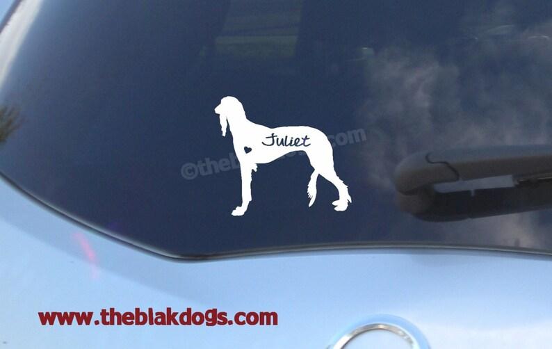 Saluki Silhouette Vinyl Sticker Car Decal Personalized