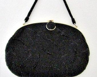 Fancy Black Beaded Purse-Beads, Beads, Beads
