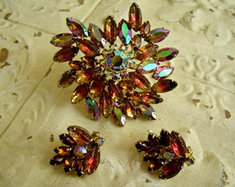 AMAZING Pin And Earrings Set With Molded Glass/SALE!