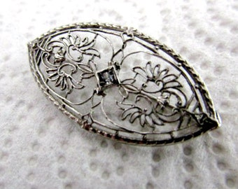Lovely Filigree Pin-Silver With A White Sapphire