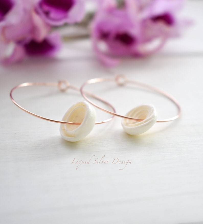 2 inch Valentine/'s Rose Gold fill Hoop PUKA Shell earrings Made in Hawaii USA Delicate Dainty Thin Lightweight Hawaiian gold 1.5 1.75