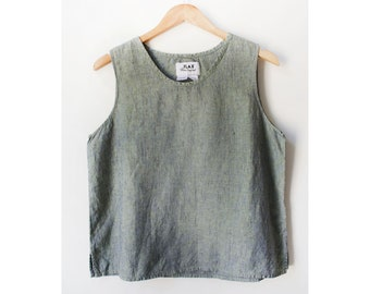Vintage 90s Flax Speckled Green Linen Cropped Boxy Tank Small/ Medium