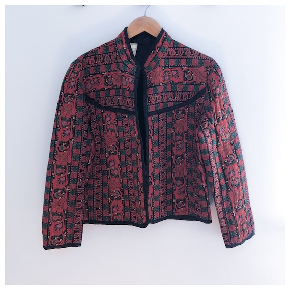 Vintage 70s Red Paisley Quilted Cropped Jacket Med