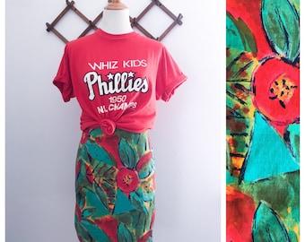 Vintage 90s Teal Floral High Waist Mini Skirt XS