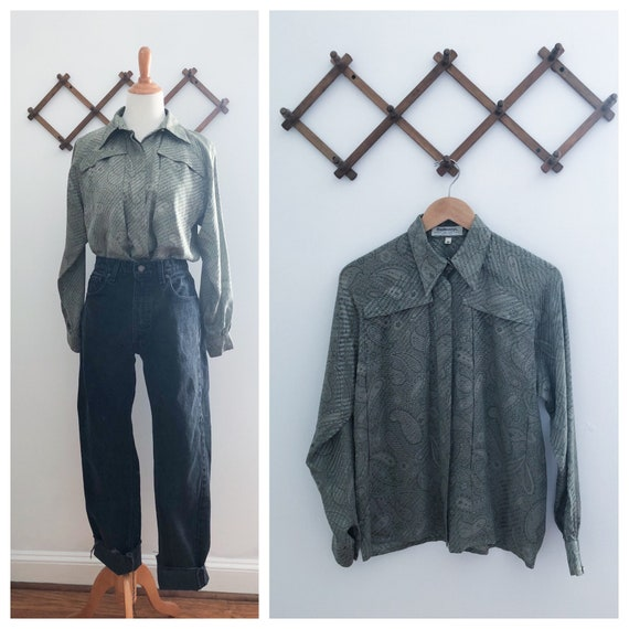 Vintage 70s Burberry Green Paisley Silk Blouse Me… - image 1