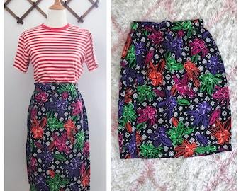 Vintage 80s Black Floral Wrap Midi Skirt Small