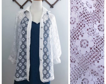 Vintage 90s White Sheer Lace Button Down Sm/Med